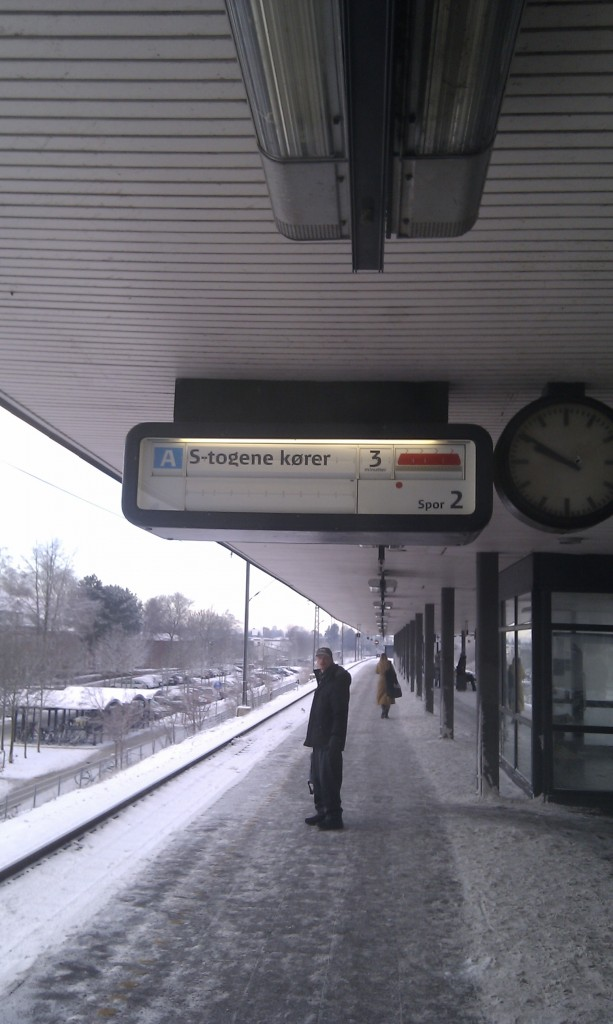Skilt på Buddinge Station visende S-togene kører