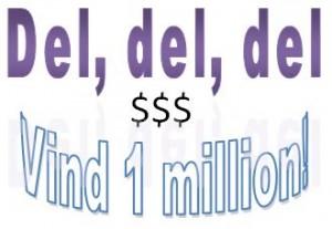 """Illustration hvor der står """"Del, del, del og Vind 1 million"""""""